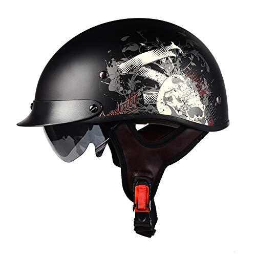 Helmets Casco para Moto | Jet Casco Sprint |con Gafas de Piloto,Certificación ECE Cascos Scooter Universal para Moto Medio Casco Abierto Casco de protección para Motocicleta (57-58)