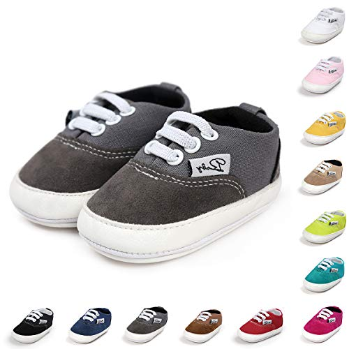 BENHERO Baby Boys Girls Canvas Toddler Sneaker Anti-Slip First Walkers Candy Shoes 0-24 Months 12 Colors(13cm,12-18 Months Toddler, Aa/Grey)