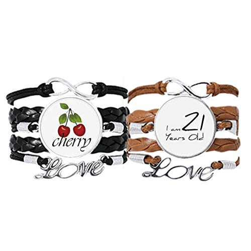 Bestchong I am 21 Years Old Age Young Bracelet Hand Strap Leather Rope Cherry Love Wristband Double Set