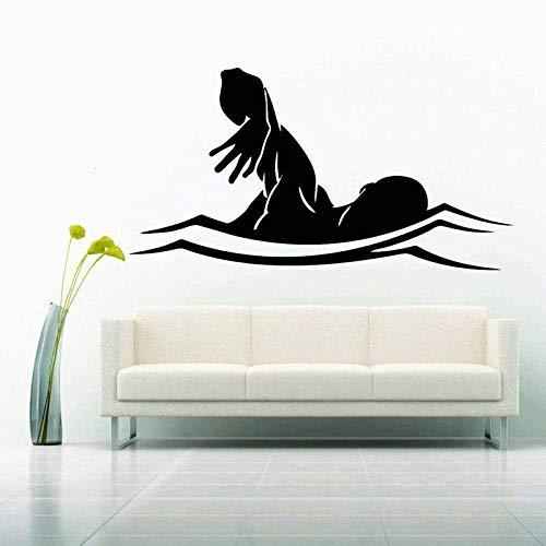 Schwimmen Wandaufkleber Auto Schwimmer Aufkleber Schwimmen Poster Vinyl Wandtattoos Dekor Wandbild Schwimmen Wandtattoo 31X58Cm