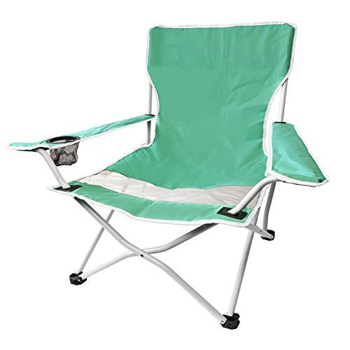 Strandstuhl Faltstuhl Campingstuhl inkl. Getränkehalter, Polyester weiß abgesetzt - Klappstuhl Gartenstuhl Balkonstuhl, Farbe:Türkis