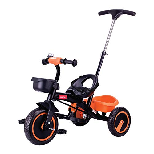 Luvlap - 18638 Elegant Kids Tricycle with Push Bar, Full Metal Frame & Anti-Slip Pedals, 1.5 to 5 Years, Carrying Capacity up to 25 Kg (Orange)