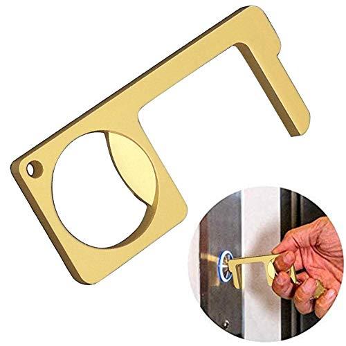 ZABB Hygienic Door Handle Keychain,Handheld Non-Contact Door Opener Brass Non-Contact Door Opener Closer Portable Press Elevator Tool A Better Way to Keep Clean