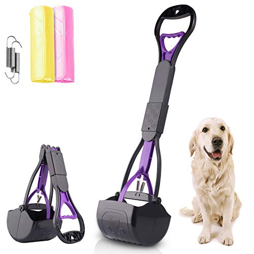 Dioxide Long Handle Pet Pooper Scooper for Large Dogs and Cats, Foldable Pet Poop Waste Pick Up Tool for Grass,Gravel,and Cement,High Strength Durable Spring & Premium Materials