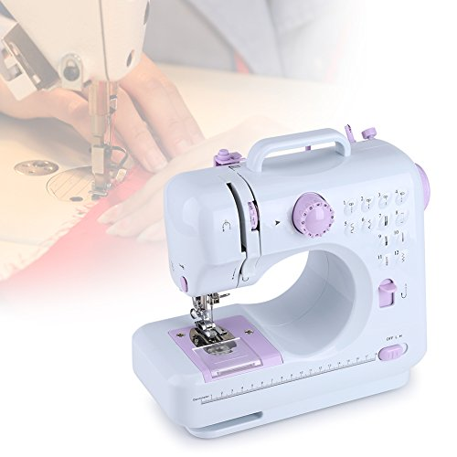 Máquina de coser electrónica de 12 puntos para principiantes Mini máquina de coser portátil, ajustable y multifunción, 2 velocidades, iluminación LED, modificación y creación de ropa DIY