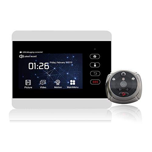 Pantalla LCD WiFi 1080P HD de 4 pulgadas, cámara de alarma inalámbrica, anillo de alarma de video ojo de llamada mirilla timbre PIR detección de movimiento