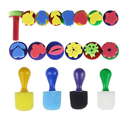 TOYANDONA Mini Esponjas de Espuma de Dedo para Pintar Herramientas de Pintura temprano DIY Kit de aprendizaje Herramientas de dibujo 18 piezas (Color al azar)