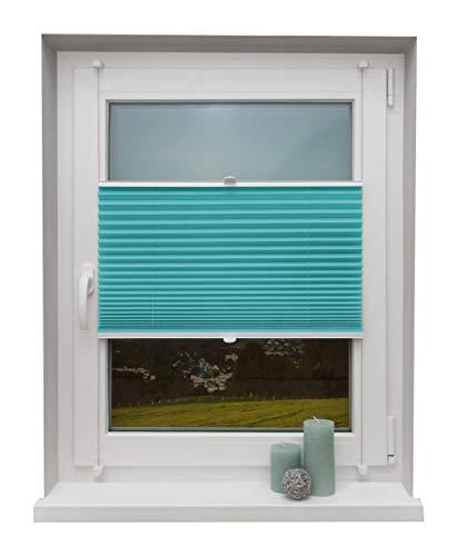 Beyond Drape Plissee Türkis 70x130 cm verspannt ohne Bohren Klemmträger bis 27mm Fertigplissee Sichtschutz