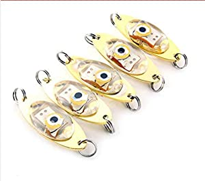 ZOUKFOX 5pcs Deep Sea Fishing Lures Kit LED Lighted Bait Flasher Saltwater Freshwater Bass Halibut Walleye Lures Attractant Offshore Universal Creative (Big Eyes)