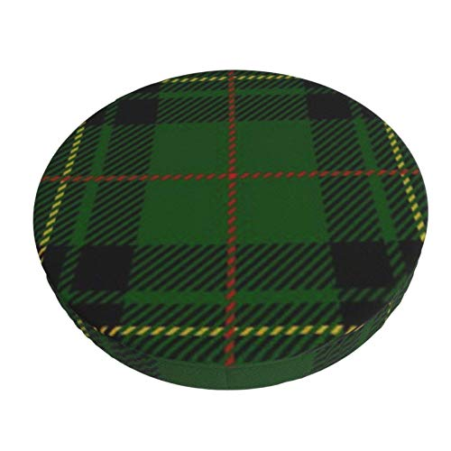 Funda De Cojín para Silla De Bar Redonda Black Abstract Clan Forbes Tartan Plaid Escocés Verde A Cuadros Taburete De Bar Fundas De Asiento Funda Elástica para Taburete
