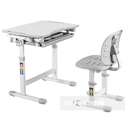FD FUN DESK Piccolino III Grey Kinderschreibtisch höhenverstellbar, Schreibtisch neigungsverstellbar, Schülerschreibtisch mit Stuhl, Grau, 664x474x540-760 mm
