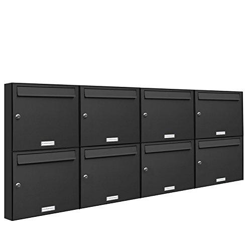 AL Briefkastensysteme 8er Briefkastenanlage Anthrazit Grau RAL 7016, Premium Briefkasten DIN A4, 8 Fach Postkasten modern Aufputz