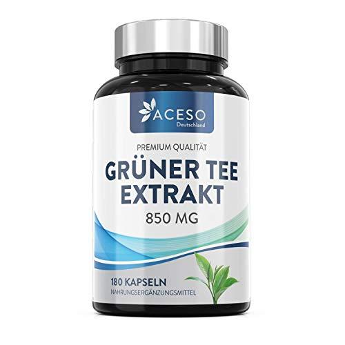 Grüner Tee Extrakt Kapseln | 850 MG hochdosiert | Reich an Polyphenolen und EGCG | Stoffwechsel-Booster | Fatburner-Tee für schnelles Abnehmen | Von Aceso