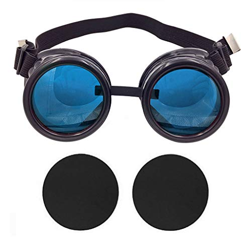T&B New Colored Diamond Lens Vintage Steampunk Goggles Glasses Welding Cyber Punk Black With Blue Rechangeable Lens Halloween Face Mask