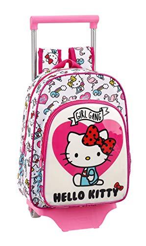 Hello Kitty Mochila Pequeña Ruedas, Carro, Trolley, Rosa, 34 cm