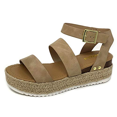 SODA Top Shoe Bryce Open Toe Buckle Ankle Strap Espadrilles Flatform Wedge Casual Sandal (7 M US, Taupe NBPU)