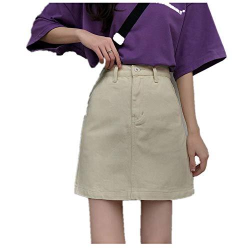 U/A Verano de las Mujeres Lápiz Jeans Falda Hihg Cintura Una línea de Denim Damas Faldas Pequeños Bolsillos Harajuku Femenino Faldas Cortas