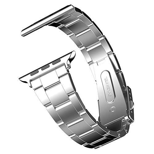 Pulseira de substituição JETech para Apple Watch 38 mm Series 1 2 3 com pulseira de aço inoxidável e fecho de metal, Prata