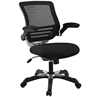 Modway Edge Mesh Back and Black Mesh Seat Office Chair With Flip-Up Arms - Ergonomic Desk And Computer Chair