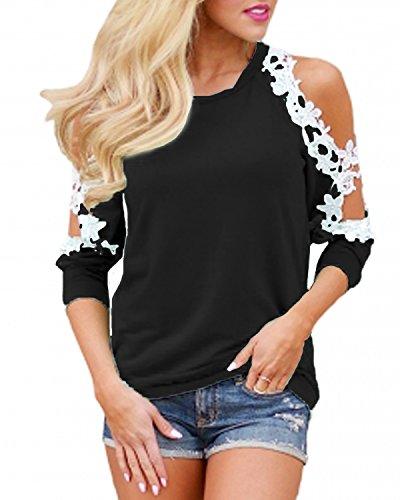 Style Dome Bluse Damen Off Shoulder Langarmshirts Rundhals Elegant Oberteil Shirts Lace Patchwork Tunika Schwarz XXL