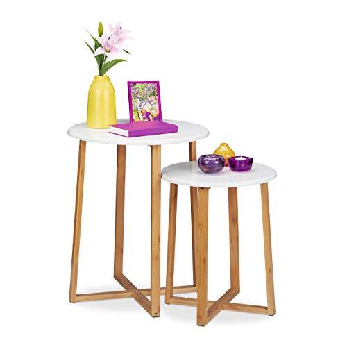 Relaxdays Juego de 2 mesas auxiliares Redondas, 48,5 y 60,5 cm de Alto, diseño Moderno, Mesa de salón, Color Natural/Blanco, Tablero de MDF, bambú