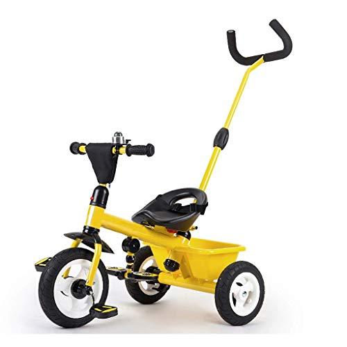 GCXLFJ Triciclo Bebe Triciclo Triciclo for niños de Tres Ruedas de la Bicicleta, Empujar al Aire Libre 2-6 años de niños de la Bici con Push Varilla Ajustable, 3 Colores,64x74x47cm(Color:Blanco)