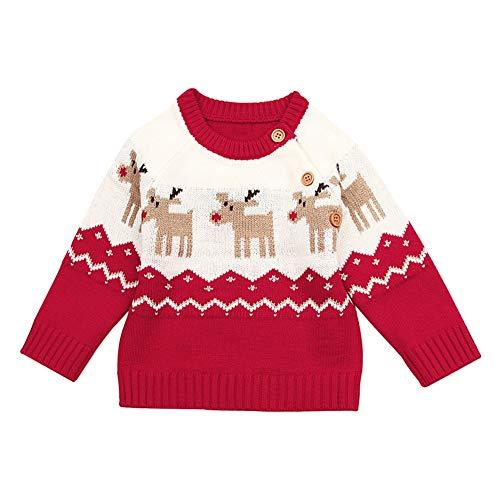 Blaward Baby Mädchen Jungen Baby Weihnachtspullover Deer Pullover Sweatshirt Weiche Strick Winter Jacke Button-Up Cardigan