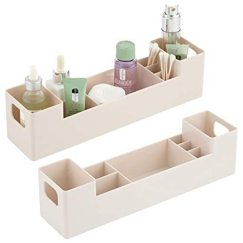 mDesign - Medicijndoos - pillendoos/organizer - voor de badkamer - voor medicijnen, vitamines of pleisters - met handvatten aan de zijkant/7 compartimenten/stapelbaar/BPA-vrij plastic - crème
