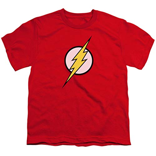Youth Flash Lightning Bolt Logo T Shirt for Boys & Stickers (Small) Red