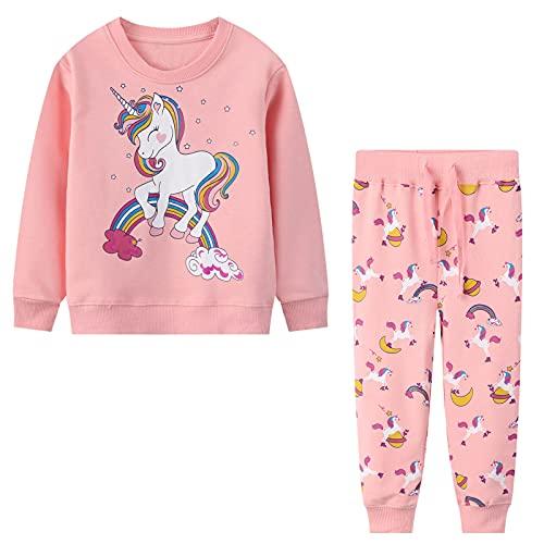 Baogaier Ragazza Unicorno Felpa Pantaloni Tuta Sportiva Cotone Manica Lunga Bimbini Rosa Abbigliamento Sportivo Maglieria Abiti Set Sweatshirt Jogging Suit Animale Ragazze Bimbina 6-7 Anni
