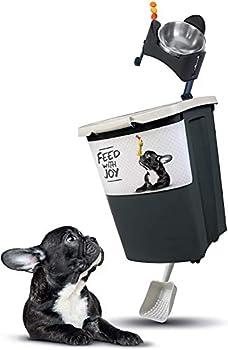Rotho Archie Grand Récipient de 38L pour Aliments pour Animaux Domestiques avec Couvercle, Rouleaux et Pelle, Plastique (PP) sans BPA, Noir/Motif, 38L (41,0 x 37,0 x 50,0 cm)