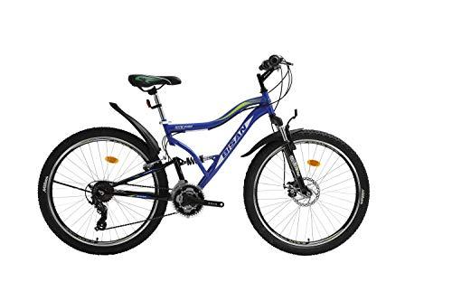 T 26 Zoll Kinder Jugend Jungen Herren Mädchen Fahrrad Kinderfahrrad MTB Mountainbike Jugendfahrrad Rad Bike 21 Gang Shimano Fully VOLLFEDERUNG Disk Scheibenbremse 4400 Schwarz Blau