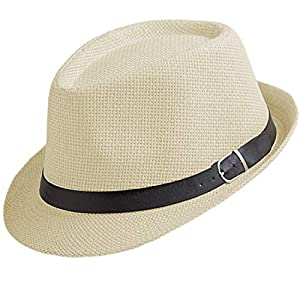 中折れハット メンズ 麦わら帽子 春夏 パナマ帽 ストローハット ベルト 日よけ帽子 かっこいい 紳士風 天然ペーパー (ベージュ)