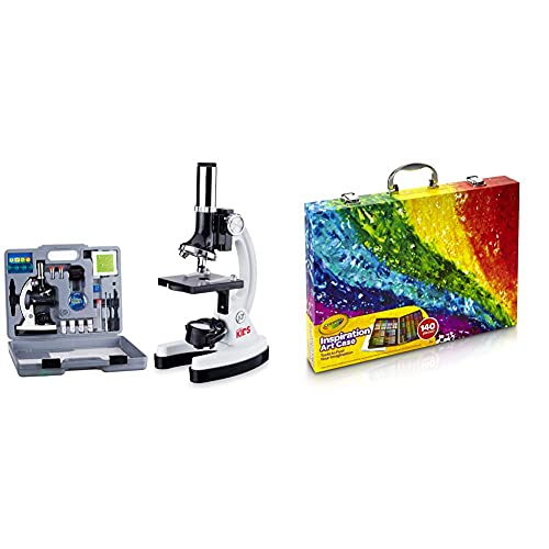 AmScope 120X-1200X 52-pcs Kids Beginner Microscope STEM Kit with Metal Body Microscope, Plastic Slides, White & Crayola Inspiration Art Case Coloring Set, Gift for Kids, 140 Art Supplies