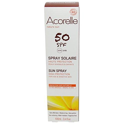 Acorelle - Spray Solaire SPF 50 - Haute protection UV, 100% naturelle pour les peaux sensibles - Résiste à l'eau - Sans filtre chimique ni zinc - Sans nanoparticules - Pour visage et corps