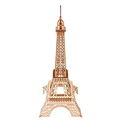 Eiffel Tower 3D Wooden Puzzle for Kids and Adults 23 inch(58cm) Assembled Brain Teaser Construction Building Blocks World Famous Buildings Puzzle Jewelry Stand Holder Party Home Decoration