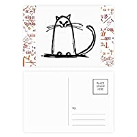 巻き毛の猫スマイルラインに座って 公式ポストカードセットサンクスカード郵送側20個
