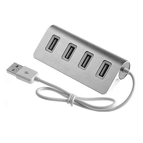 Triamisu Tamaño portátil de aleación de Aluminio de Alta Velocidad de 4 Puertos Hub USB Adaptador de Divisor USB con indicador LED para computadora portátil PC - Plata