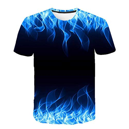 Oberteile Herren T-Shirt Rundhals Kurzarm Sommer Shirt Blaue Flamme Basic Tops Locker Bluse Shirts Hawaiihemd Laufen Baumwollhemd Tunika Bluse Casual MäNner Passform Hemden Blusen