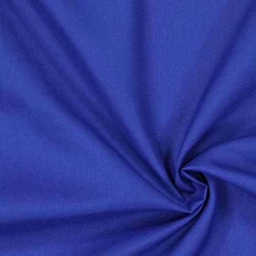 Popeline Stoff Uni – königsblau — Meterware ab 0,5m — zum Nähen von Kissen/Tagesdecken, Tischdekoration & Freizeitkleidung