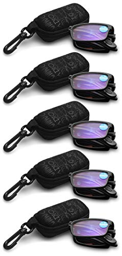 KOOSUFA Faltbare Lesebrille Herren Damen Anti Blaulicht TR90 Zusammenklappbar Leicht Lesehilfe Anti Müdigkeit Vollrandbrille Schwarz mit Etui 1.0 1.5 2.0 2.5 3.0 3.5 4.0 (5x Schwarz, 1.5)