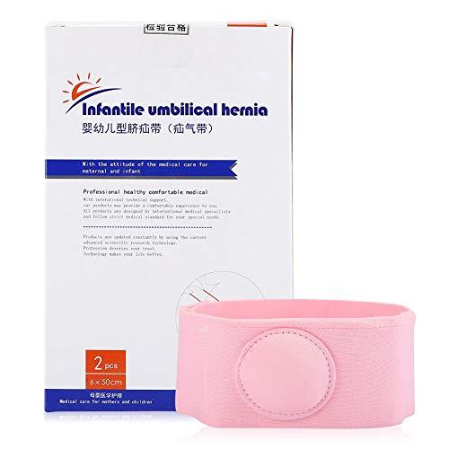 DOACT Cinturón de Hernia de Ombligo de bebé cómodo Tratamiento de Terapia de Hernia Cinturón de Hernia Umbilical de bebé Infantil (2 Piezas)(Rosado)