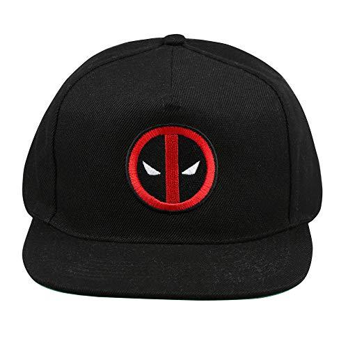 Marvel Deadpool Logo Flat Cap Boina, Negro (Black Blk), Taille Unique para Hombre