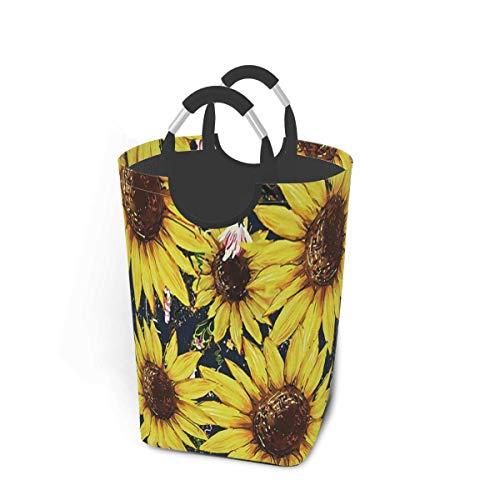 N\A Sunflowers - Paquete de Ropa Sucia de Acuarela, 50 l, cesto de lavandería, cesto de lavandería Impermeable con Asas, Bolsa de lavandería Delgada y Plegable para lavandería, Dormitorio, Dormitorio