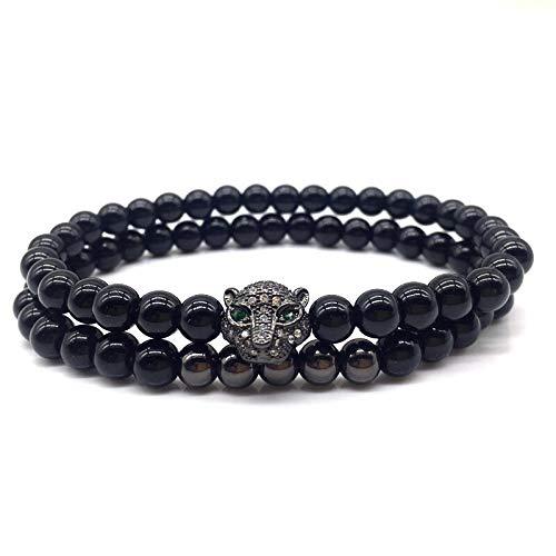 CHCO Pulsera de cuentas de cabeza de leopardo pulseras de cuentas de piedra para hombres y mujeres joyería de moda regalo 4