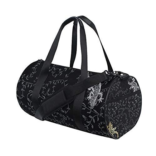 Sporttasche für Damen und Herren, Motiv: Eidechse, Pflanzen, Schwarz