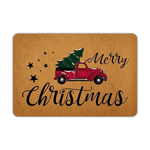 Naiteu Christmas Door Mat Merry Christmas Doormat Outside Welcome Mats for Front Door Rubber Non Slip Backing Funny Doormat Indoor Outdoor Decorative Rug 23.6'X 15.7'