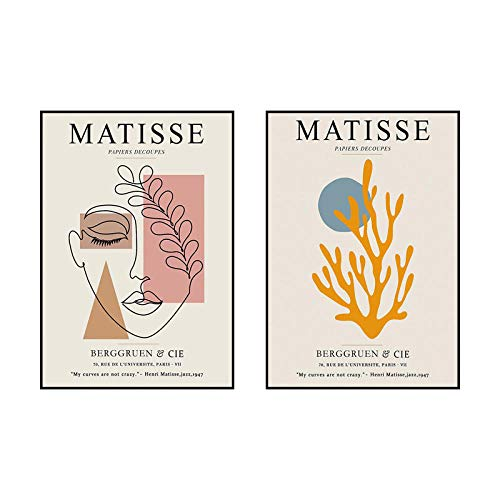 Matisse Vintage Poster Abstract Girl Lines Leaf Wall Art Canvas Pintura Nordic Posters & Prints Wall Cuadros For Living Room Decor 40x60cmx2 No Frame