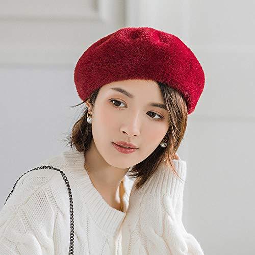Bylydeco-deco Boinas para Mujer Boina De Mujer Otoño E Invierno Terciopelo Sombrero Octogonal Sombrero Cálido-Rojo Gorra Circ