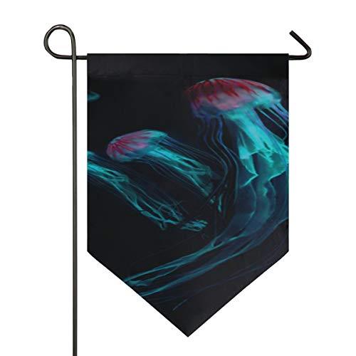 YXUAOQ Dekorative Hausflagge Aquarium von Quallen Fisch Algen Garten Yard Flaggenständer Doppelseitig 12 X 18,5 Zoll / 28 X40 Zoll Home Yard Dekor Banner im Freien